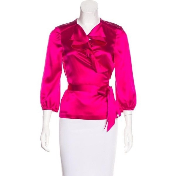 1605d4ecb4b1 Diane Von Furstenberg Tops - DVF Wrap Blouse Silk Shirt Top Size 0 Marla